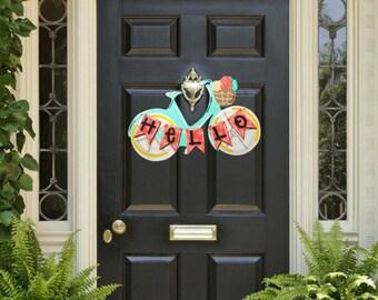 Spring Door Hanger- Bicycle Door Hanger, Spring Door Decorations, Summer Door Hanger, Colorful Summer Decorations, Wooden Door Decor