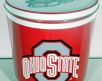 OSU Buckeyes Football Popcorn Tin with Gourmet OSU Colored Popcorn or Pick Your Flavor