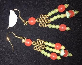 Orange Chalcedony and Peridot Crystal Earrings