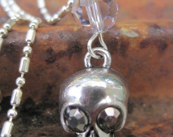 Day of the Dead Crystal Eyed Silver Skull Pendant Necklace