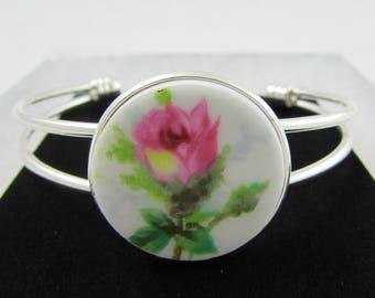 "China Bracelet, Made with Hammersley ""Grandmother's Rose"" Vintage Bone China, Rose Bracelet, Broken China Jewelry, Bangle, Silver Plated"