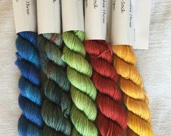 Mini Skeins 100% Merino 4 ply hand dyed 20grams