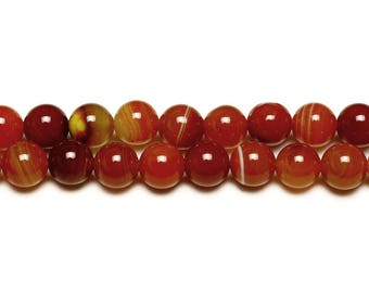 10 x natural Agate beads with 10mm ORANGE rust