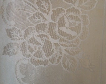 """Vintage 1940s or 1950s Tablecloth~Rayon~White on White Floral Pattern~48"""" x 64"""""""
