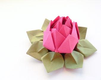 Handmade Origami Lotus Flower - paper flower - Fuchsia Pink, Moss Green - teen birthday, Mother's Day gift
