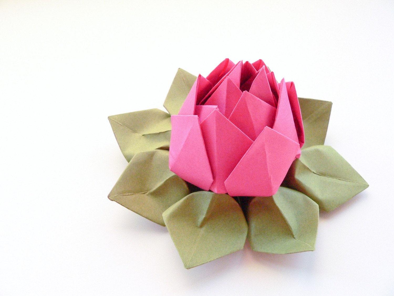 Handmade Origami Lotus Flower Paper Flower Fuchsia Pink