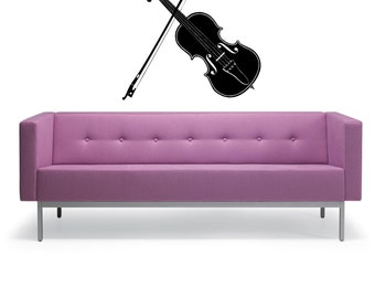 Violin Silhouette - Wall Decal - Wall art Sticker - ( Black outline shown )