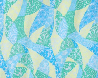Vintage 60s Lilly Pulitzer Fabric - Key West Fabric - Zuzek - 60s Screen Print Fabric - Key West Fabric - Blue Green Yellow - Patches