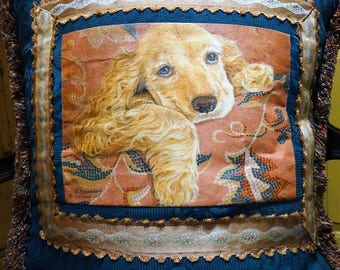 Decorative Handpainted Pillow, Original Work of Art, Down Filled, 18 inches OOAK