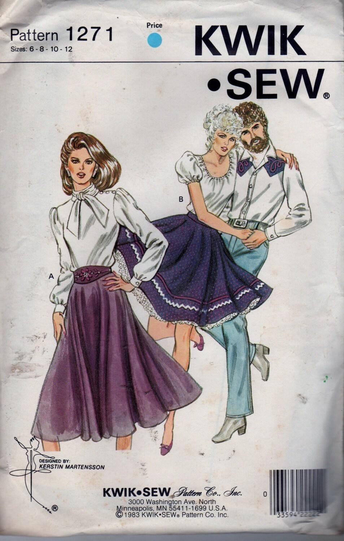 Nähen Muster Kwik Sew 1271 Womens Rock und Square Dance Rock
