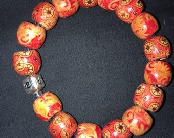 Orange wood bead bracelet