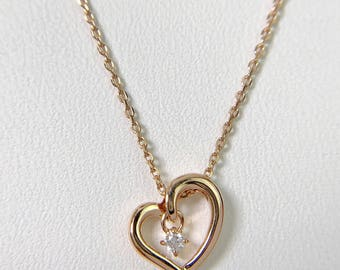 Heart Necklace, white Sapphire 10K Gold