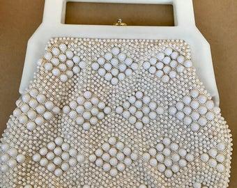 White acrylic bead purse, vintage purse, beaded purse, beaded handbag, acrylic beaded bag, white beaded purse, white purse, 1950's purse