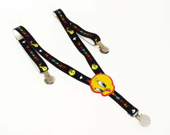 Black TWEETY SUSPENDERS / Elastic / Looney Tunes / Toddler Boy's - Girl's / Shiny Metal Accents & Clasps / Great Holiday-Everyday Fashion