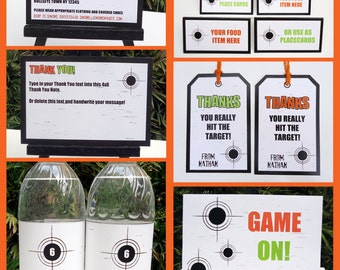 Laser Tag Party Invitations & Decorations - full Printable Package - INSTANT DOWNLOAD with EDITABLE text - you personalize at home