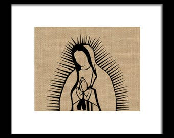 Our Lady of Guadalupe Burlap Framed Print
