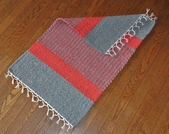"Hand Woven Rug - 18"" x 28""- red and gray"