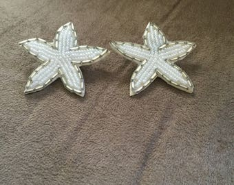 Vintage Starfish Beaded Design Earrings, 1 1/2'' In Diameter