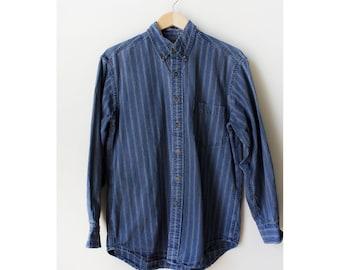 Vintage 80s Blue and Brown Striped Chambray Denim Button Down Shirt Medium