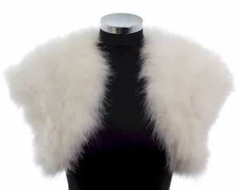 Champagne - FLAPPER - HOLLYWOOD 1930s GLAMOUR - Ivory Ostrich Feather Stole Wrap Shrug
