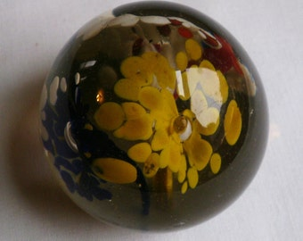 Vintage Multi-Colored Flower Glass Paperweight