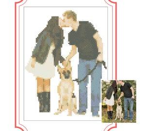 Personalized Stitch Pattern Custom Portret Family Cross Stitch Silhouettes PDF Pattern Pdf Instant Download Cross Stitch Gift Xstitch Gift