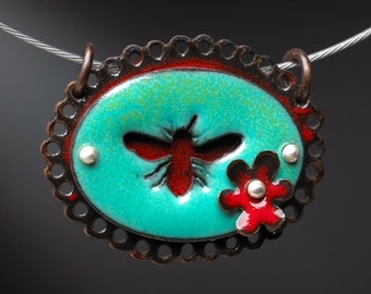 Bee Pendant Red and Green with Red Flower