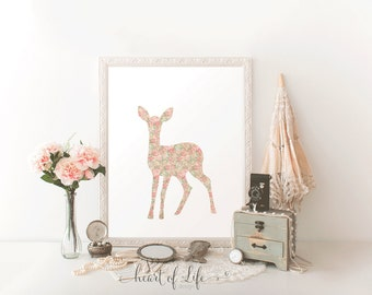 Printable art, Deer printable, Shabby chic nursery art print, Woodland nursery decor, Girl woodland nursery, Deer art HEART OF LIFE Design
