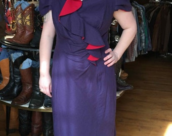 Vintage Retro Fushia Pink and Blue Dress, Cap Sleeves