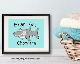 Bathroom Art, Brush Your Teeth, Bathroom Rules, Bathroom Wall Decor, Printable Accessories, Bathroom Decor, Ocean Shark Print Sign