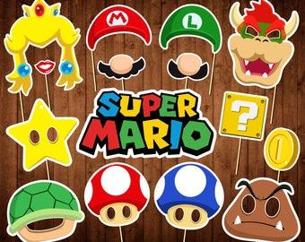 Super Mario Photo Booth Props - Printable PDF - Mario Party Theme - INSTANT DOWNLOAD - Mario Birthday Decor