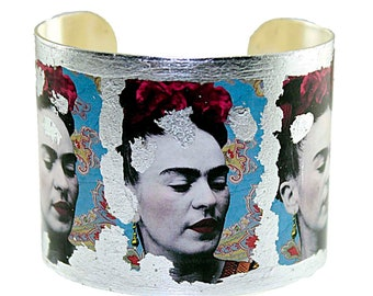 Photo Cuff, Gold Leaf Jewelry, Altered Art Jewelry, Hand Gilded Silver Leaf FRIDA KAHLO Collage
