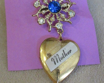 Vintage Mother Locket Brooch