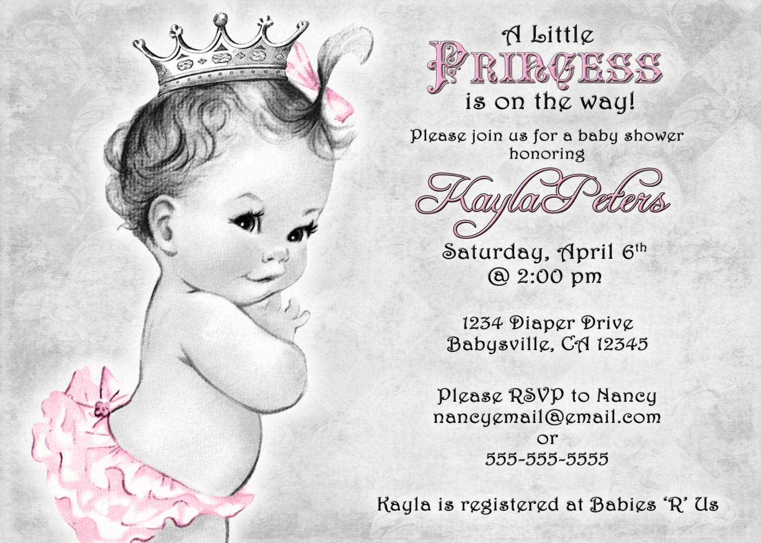 Vintage Baby Shower Invitation For Girl Princess Crown