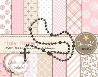 50% OFF Rosary Girl Baptism Digital Papers and Clipart, First Communion, Confirmation, Christening, Dedication, Holy Week Scrapbooking, Rosa
