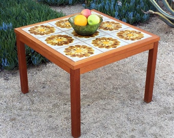 Vintage Danish teak and tile coffee table/end table