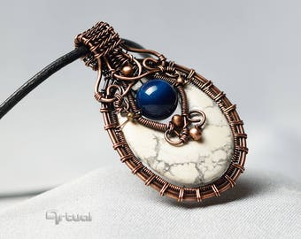 Copper wire jewelry, wire wrapped pendant, white gemstone necklace, magnesite jewellery, birthday gift for women, blue agate bead, handmade