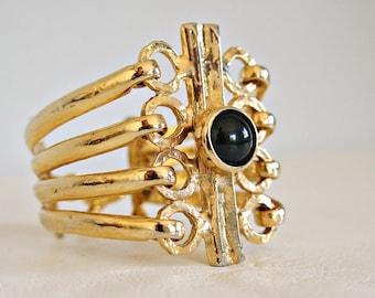 Vintage Bracelet Cuff Bold Goldtone