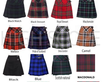 Ladies Women's Tartan Pleated Billie Kilt Skirt Made of Tartan 16 colors available delivery in 5 to 7 days