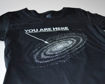 Mens Tshirts - Outer Space Shirt - Funny T Shirts for Men - You Are Here Outerspace Tshirts