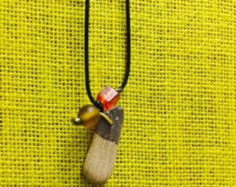 Teardrop striped Lake Superior Stone necklace with beaded accents