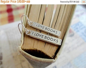 30% OFF SALE I Love Books bar charm earrings, book lover jewelry, literary enthusiast jewelry
