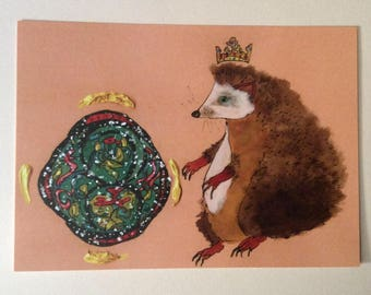 Hedgehog and orb 5 x 7 blank postcard