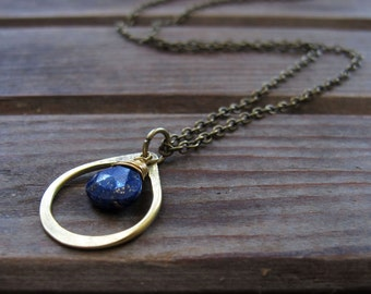 Sundrop - Lapis Necklace - Semi Precious Stone and Brass Teardrop Necklace - Artisan Tangleweeds Jewelry