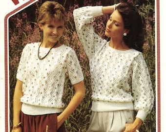 Vintage Ladies Long and Short Sleeved Sweaters, Knitting Pattern, 1960 (PDF) Pattern, Wendy 2346