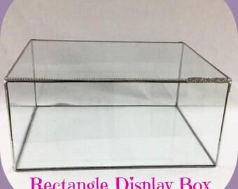 "Rectangle Display Box Geometric Glass Box Glass Display Case Large Display Box Bible Box Wedding Display Box 12 x 10 x 5.5"" Tall"