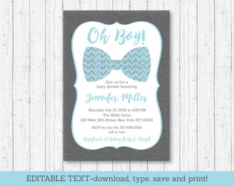 Cute Bow Tie Baby Shower Invitation / Bow Tie Baby Shower Invite / Chevron Pattern / Blue & Silver / INSTANT DOWNLOAD Editable PDF A153