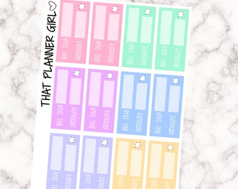 Bill Due Stickers - Pastel Rainbow - Perfect for the Erin Condren Vertical or Mambi Happy Planner or kate spade or kikki k planner