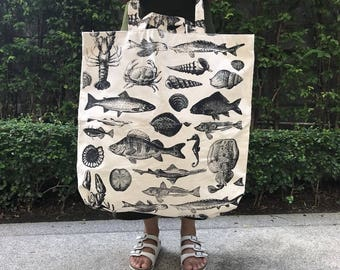 Canvas Jumbo Tote Bag,Shopping Bag, Market Tote bag, Sea Animals tote Bags