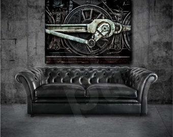 Grunge Old Steam Locomotive Wheel and Rods Art Canvas Poster Print Home Decor